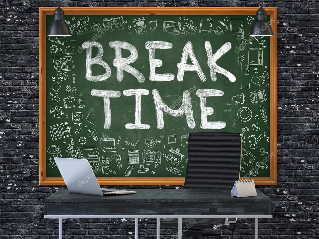 chalkboard office. Hand Drawn Break Time On Office Chalkboard. \u2014 Stock Photo Chalkboard P