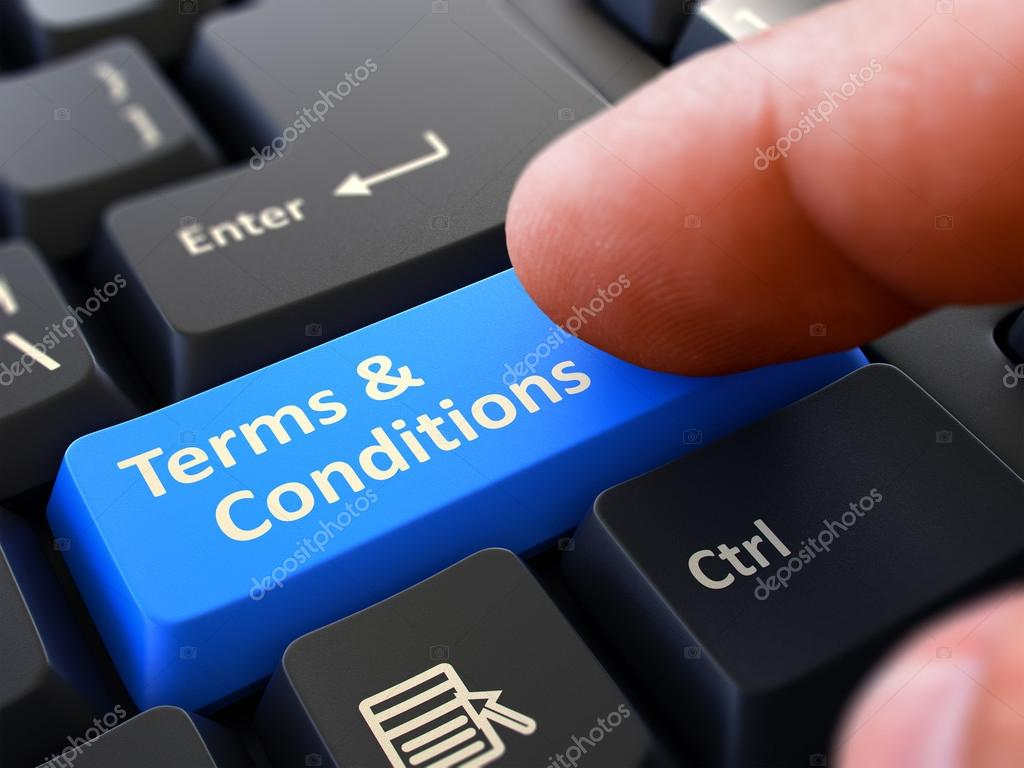 Pressing Blue Button Terms and Conditions on Black Keyboard ...