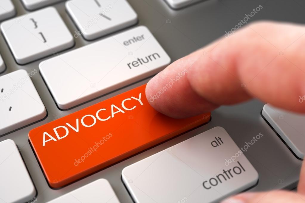 Hand Finger Press Advocacy Button.