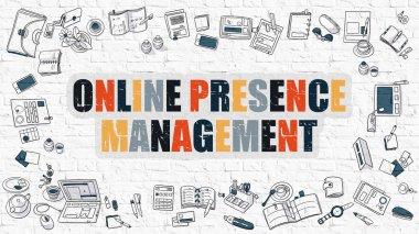 Online Presence Management on White Brick Wall.