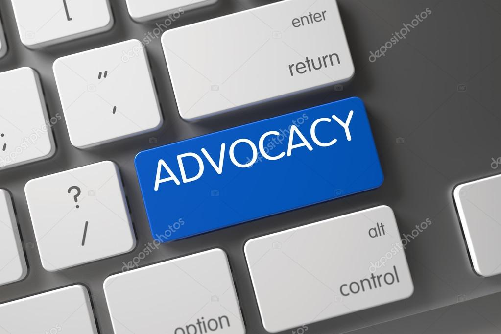 Blue Advocacy Button on Keyboard.