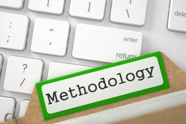 Folder Register with Inscription Methodology. 3D Illustration.