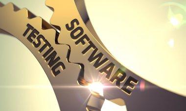 Software Testing Concept. Golden Metallic Cogwheels. 3D.
