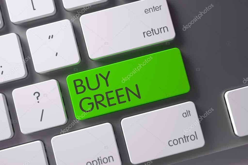 Buy Green CloseUp of Keyboard. 3D Illustration.