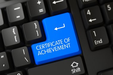 Blue Certificate Of Achievement Button on Keyboard. 3D Illustration.