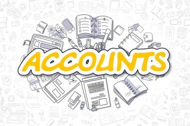 Accounts - Cartoon Yellow Text. Business Concept.
