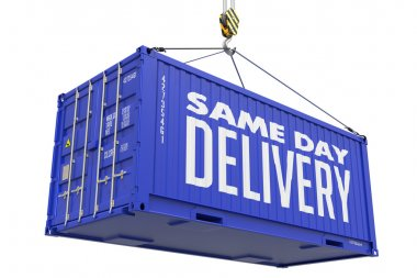 Same Day Delivery on Blue Cargo Container.