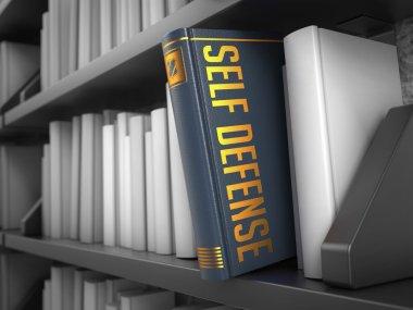 Self Defense - Grey Book on the Black Bookshelf between white ones. stock vector