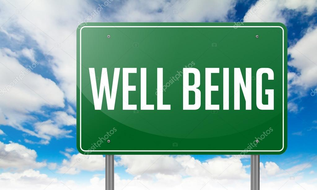 Well Being on Highway Signpost.