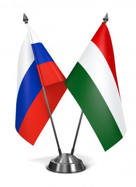 Hungary and Russia - Miniature Flags.