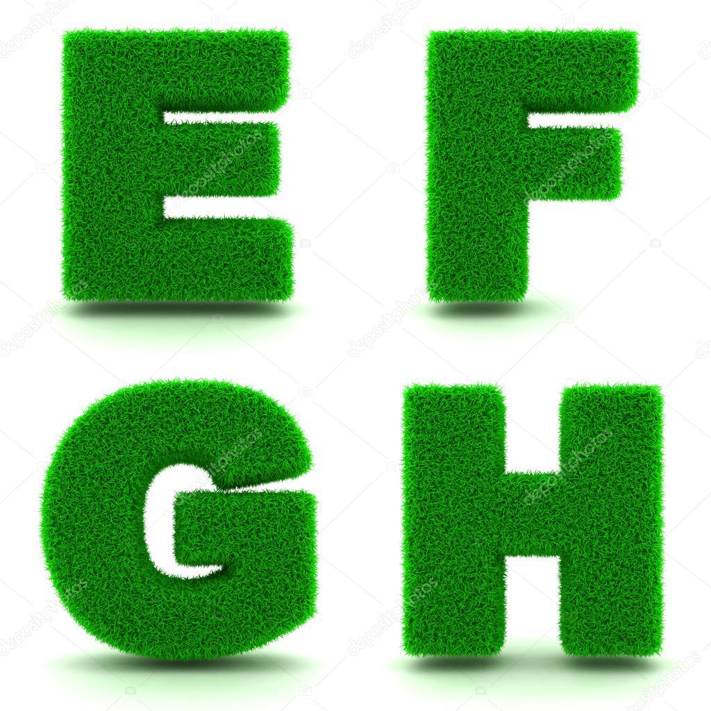 Letters E, F, G, H. Alphabet Set of Green Grass.