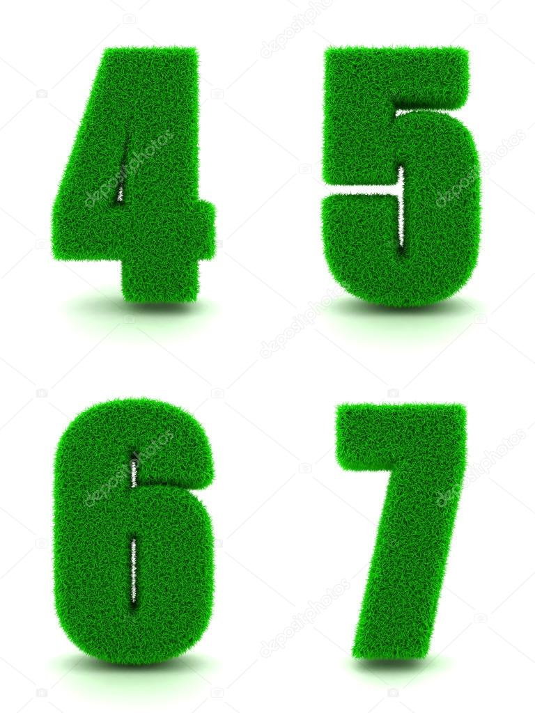 Digits 4, 5, 6, 7 of 3d Green Grass - Set.