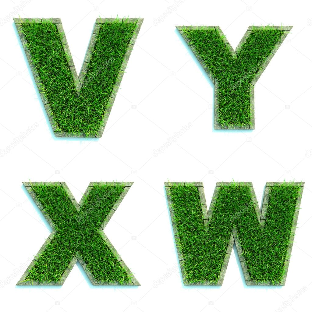 Letters V, Y, X, W as Lawn - Set of 3d.