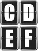 Písmena C, D, E, F na mechanické tabuli