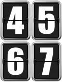 Číslice 4, 5, 6, 7 na mechanické tabuli
