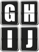 Písmena G, H, I, J na mechanické tabuli