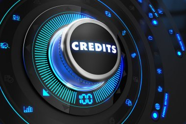 Credits Button with Glowing Blue Lights.