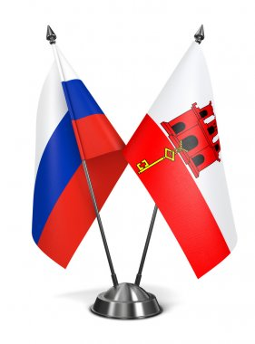 Russia and Gibraltar - Miniature Flags.