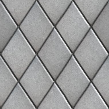 Gray Paving  Slabs Laid as Pattern of Rhombuses.