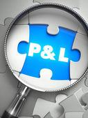 Fotografie Profit and Loss - Missing Puzzle Piece through Magnifier.
