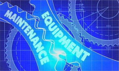 Equipment Maintenance Concept. Blueprint of Gears.
