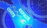 Fotografia Repair Costs Concept. Blueprint of Gears.
