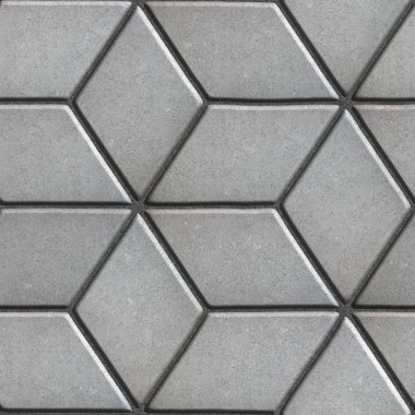Gray Paving Slabs Laid Flower of Rhombuses.