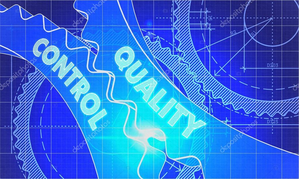 Qualitätskontrolle Konzept. Blueprint von Gears — Stockfoto ...