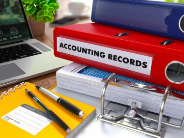 Red Ring Binder with Inscription Accounting Records.