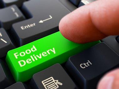 Food Delivery - Written on Green Keyboard Key.