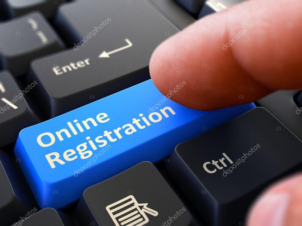 Online Registration - Written on Blue Keyboard Key  — Stock