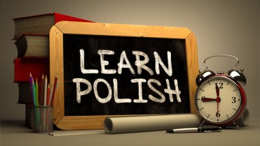 Learn Polish - Chalkboard with Hand Drawn Text.