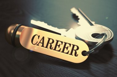 Keys to Career. Concept on Golden Keychain.