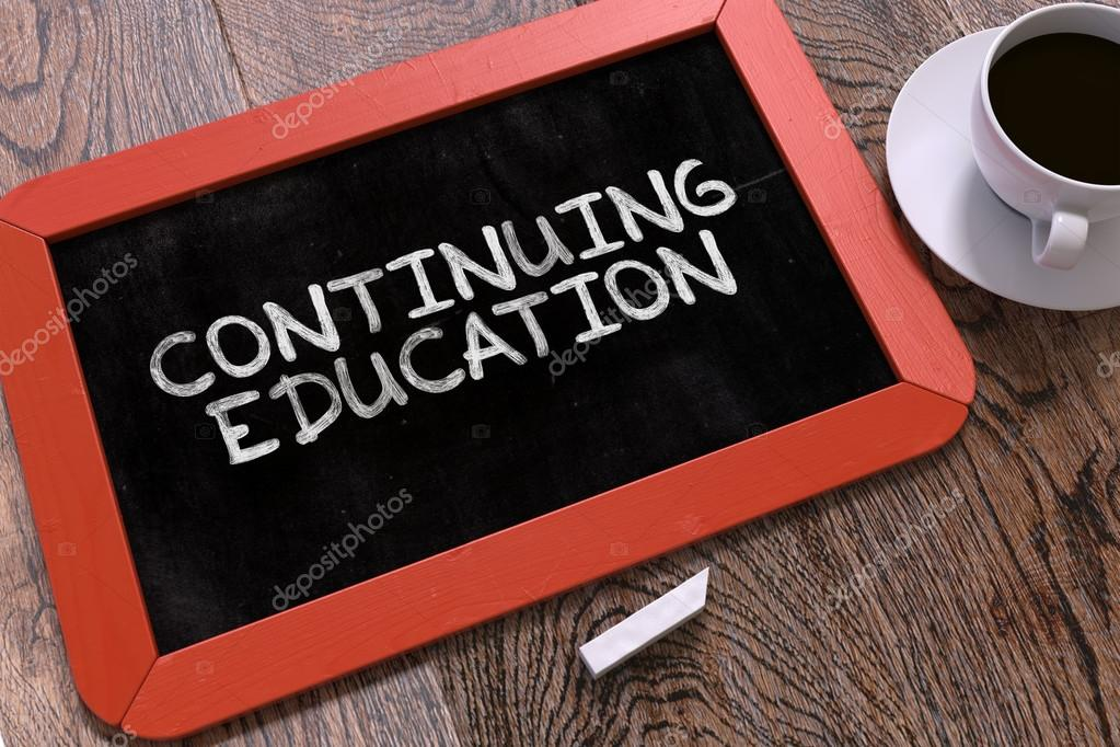 continuing education hand drawn concept on chalkboard stock