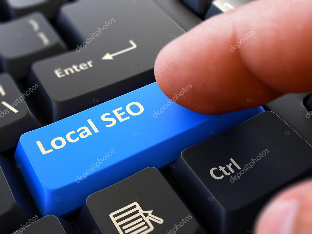Local SEO Concept. Person Click Keyboard Button.