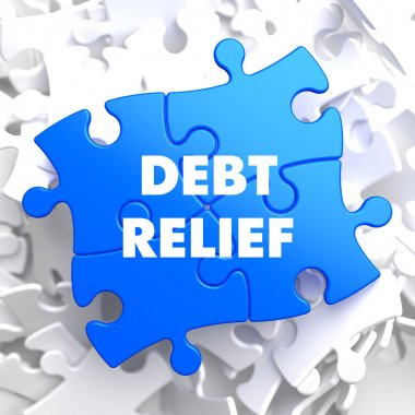 Debt Relief on Blue Puzzle.