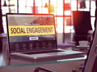 Social Engagement Concept on Laptop Screen.
