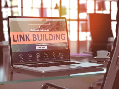 Laptop Screen with Link Building Concept.