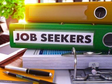 Green Office Folder with Inscription Job Seekers.