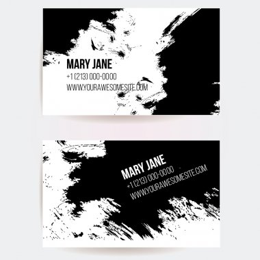 Set of creative business card templates with artistic vector design. Abstract black ink grunge scribble texture. clip art vector