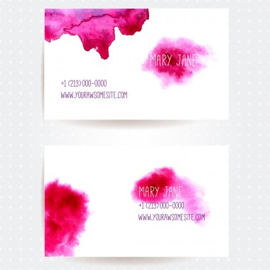 Set of two creative business card templates with artistic vector design. Abstract pink watercolor splashes.