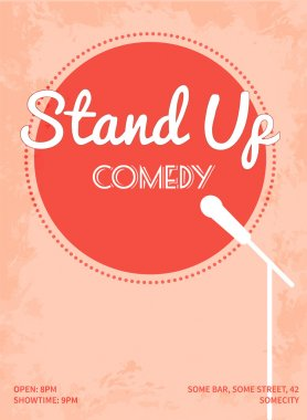 Stand up comedy event poster. Retro style vector illustration with pink circle, white silhouette of microphone and text.