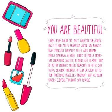 Makeup tools vector layout. Hand drawn illustrations of lipstick, mascara, nail polish tube and eyeshadows.