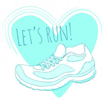 Running shoe and text let's run