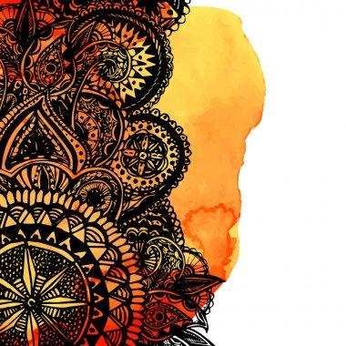 """Картина, постер, плакат, фотообои """"оранжевый акварель кисти"""", артикул 75418665"""