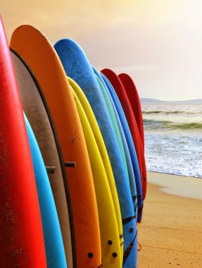 Many colorful surfboards in a beach