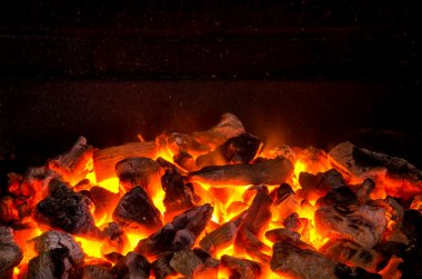 Live-coals burning in barbecue
