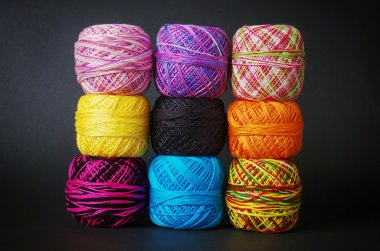 Colorful yarn coils