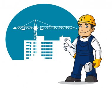 Smiling builder with hummer and plans