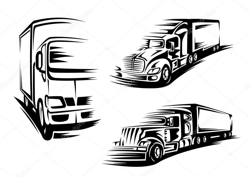 Black silhouettes of semi trailer trucks, lorry
